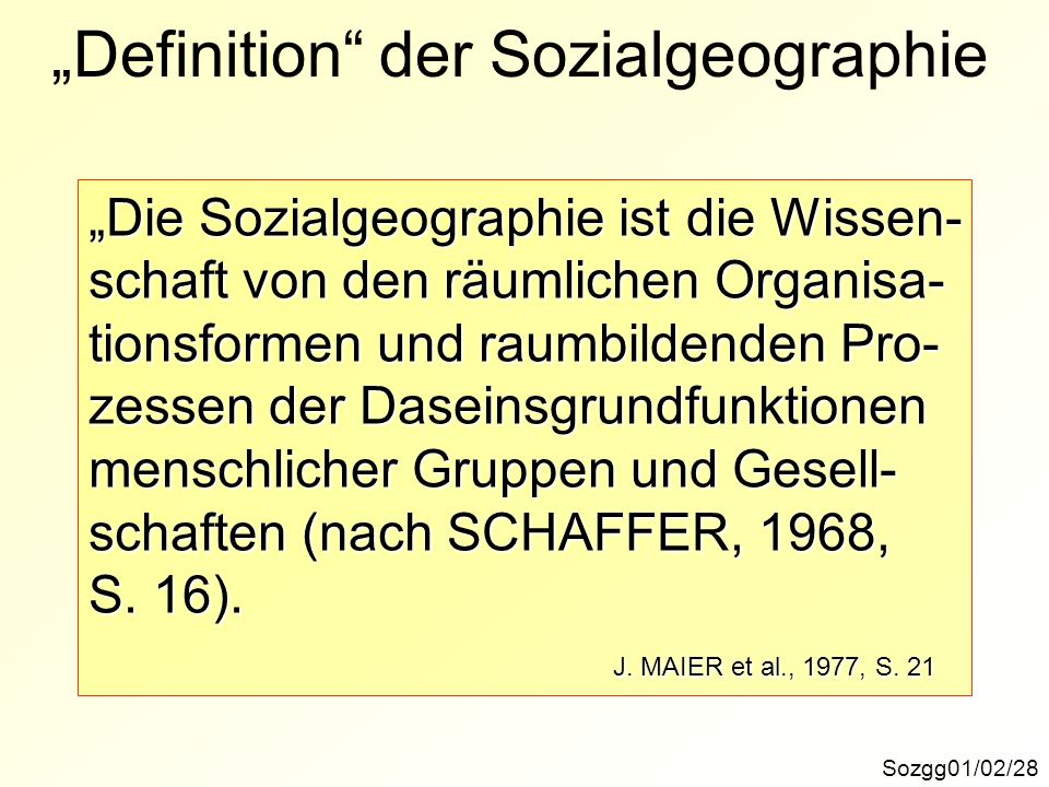 """Definition der Sozialgeographie"