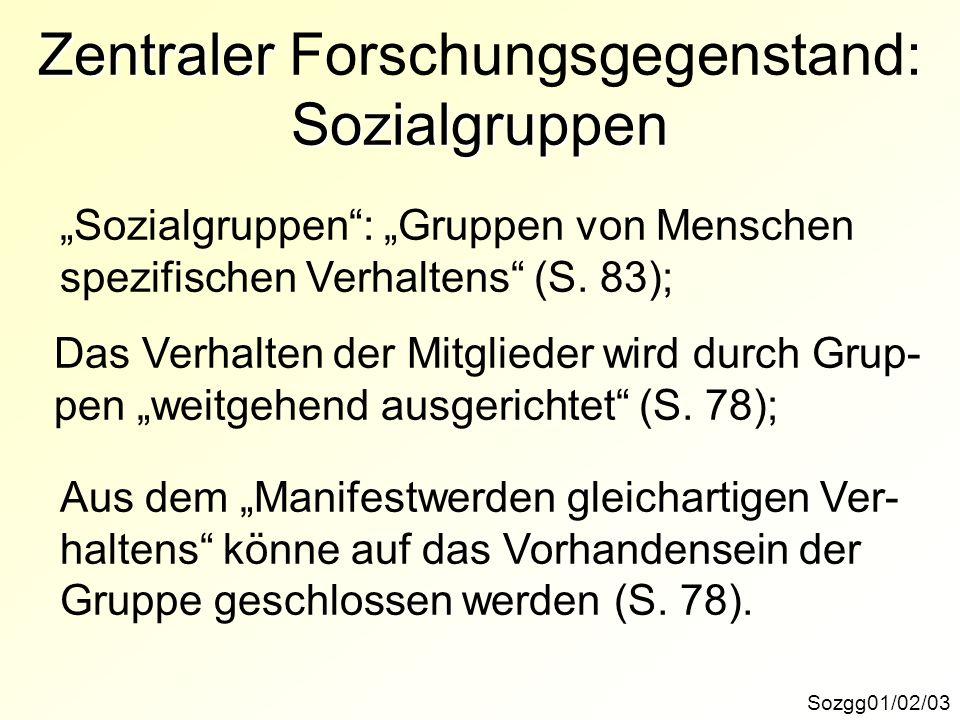 Zentraler Forschungsgegenstand: Sozialgruppen