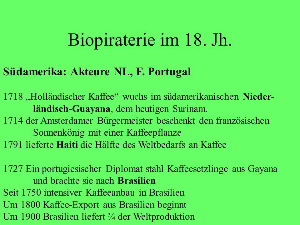 Biopiraterie im 18. Jh. Südamerika: Akteure NL, F. Portugal