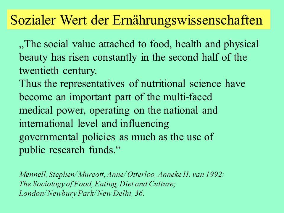 Sozialer Wert der Ernährungswissenschaften