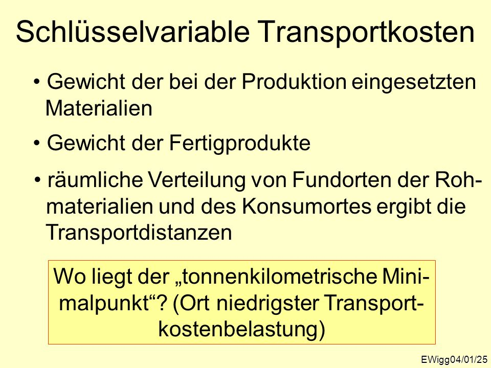Schlüsselvariable Transportkosten