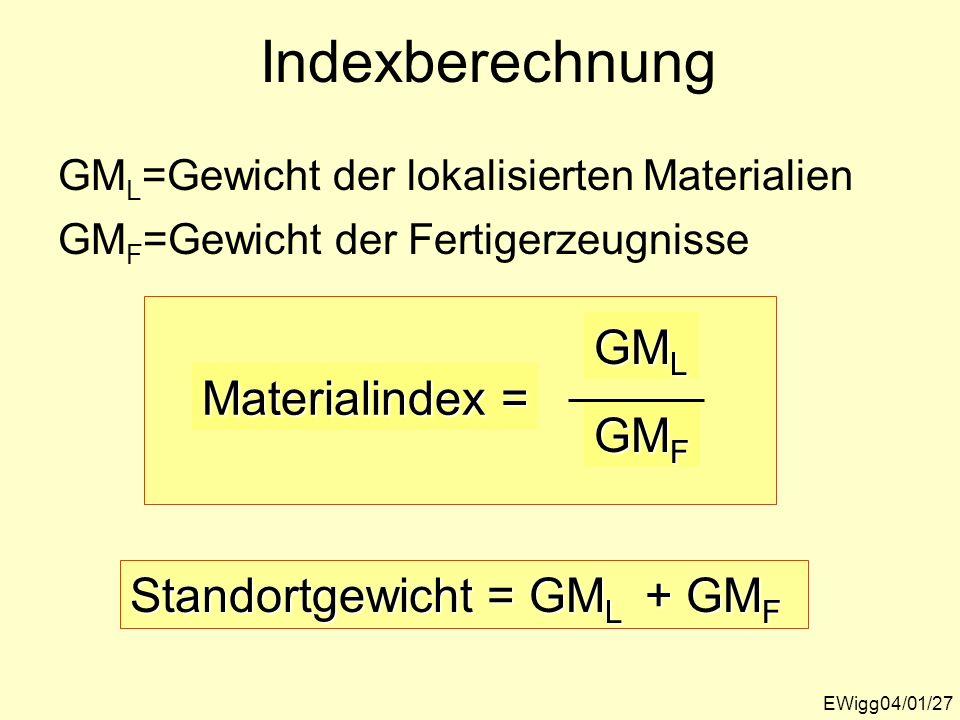 Indexberechnung GML Materialindex = GMF Standortgewicht = GML + GMF