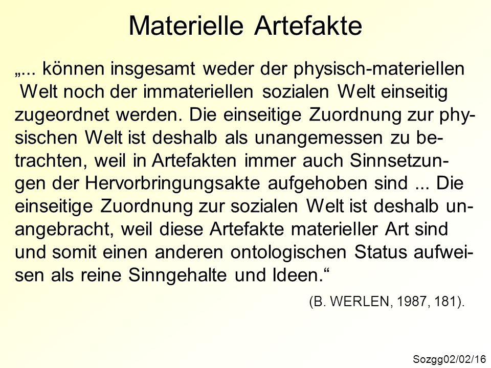 """Materielle Artefakte """"... können insgesamt weder der physisch-materiellen. Welt noch der immateriellen sozialen Welt einseitig."""