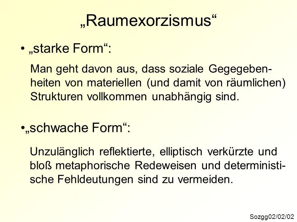 """""""Raumexorzismus """"starke Form : """"schwache Form :"""