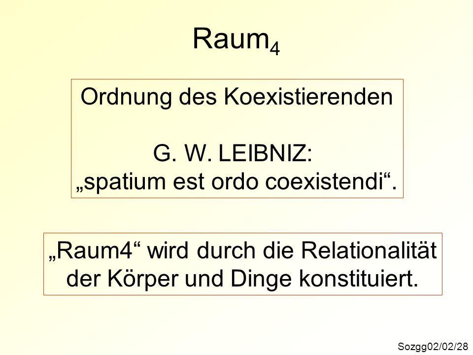 Raum4 Ordnung des Koexistierenden G. W. LEIBNIZ: