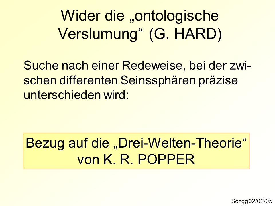 """Wider die """"ontologische Verslumung (G. HARD)"""