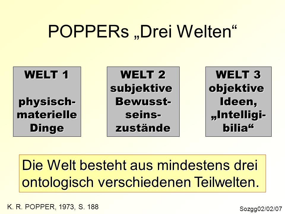 """POPPERs """"Drei Welten Die Welt besteht aus mindestens drei"""