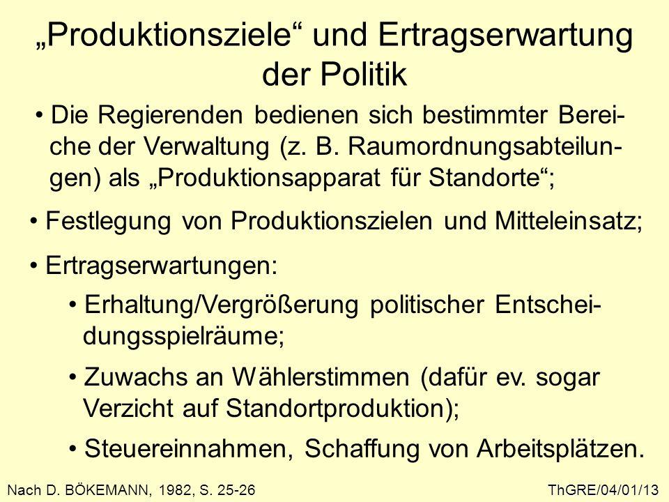 """""""Produktionsziele und Ertragserwartung der Politik"""