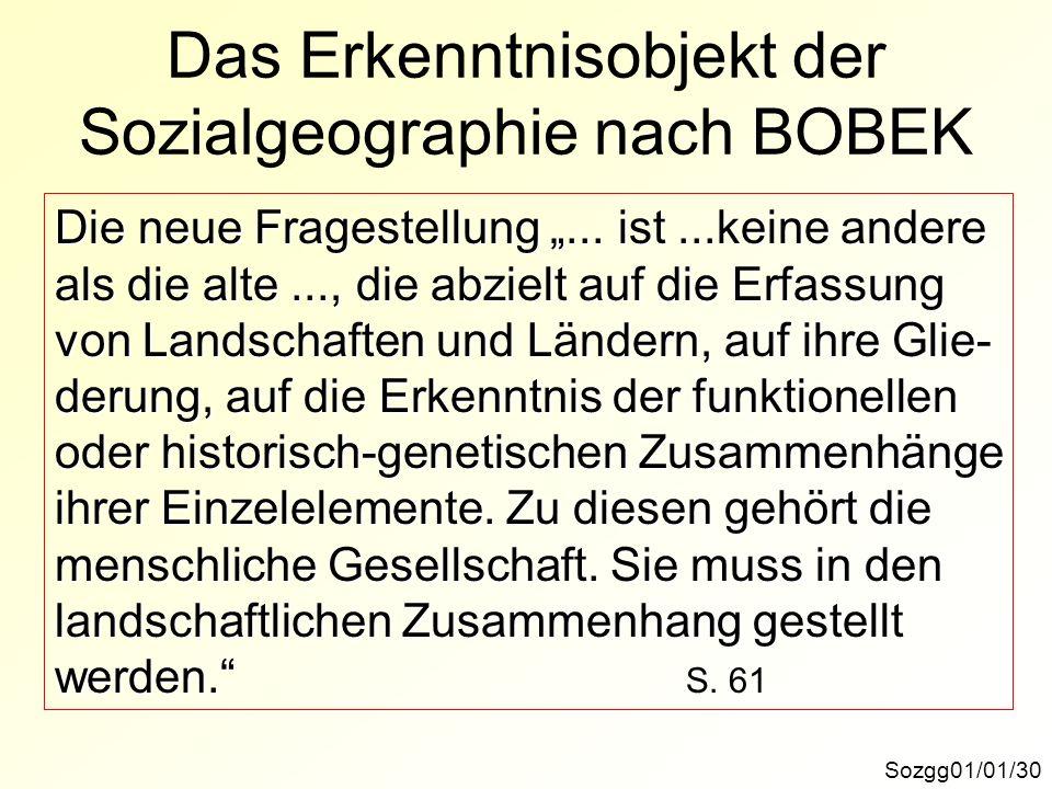 Das Erkenntnisobjekt der Sozialgeographie nach BOBEK