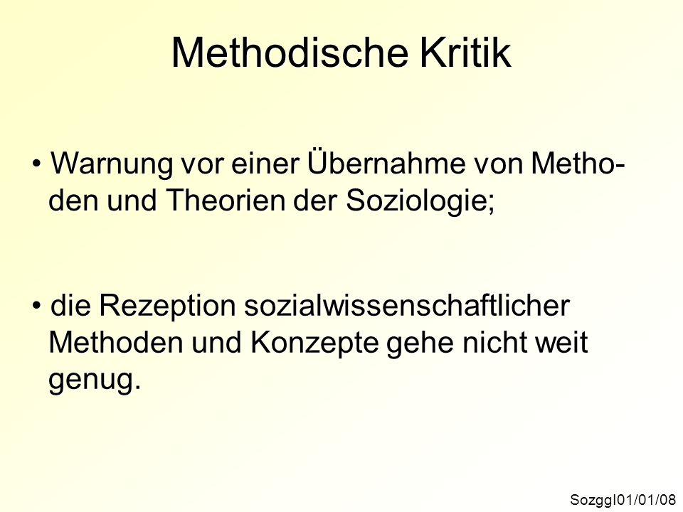 Methodische Kritik Warnung vor einer Übernahme von Metho-