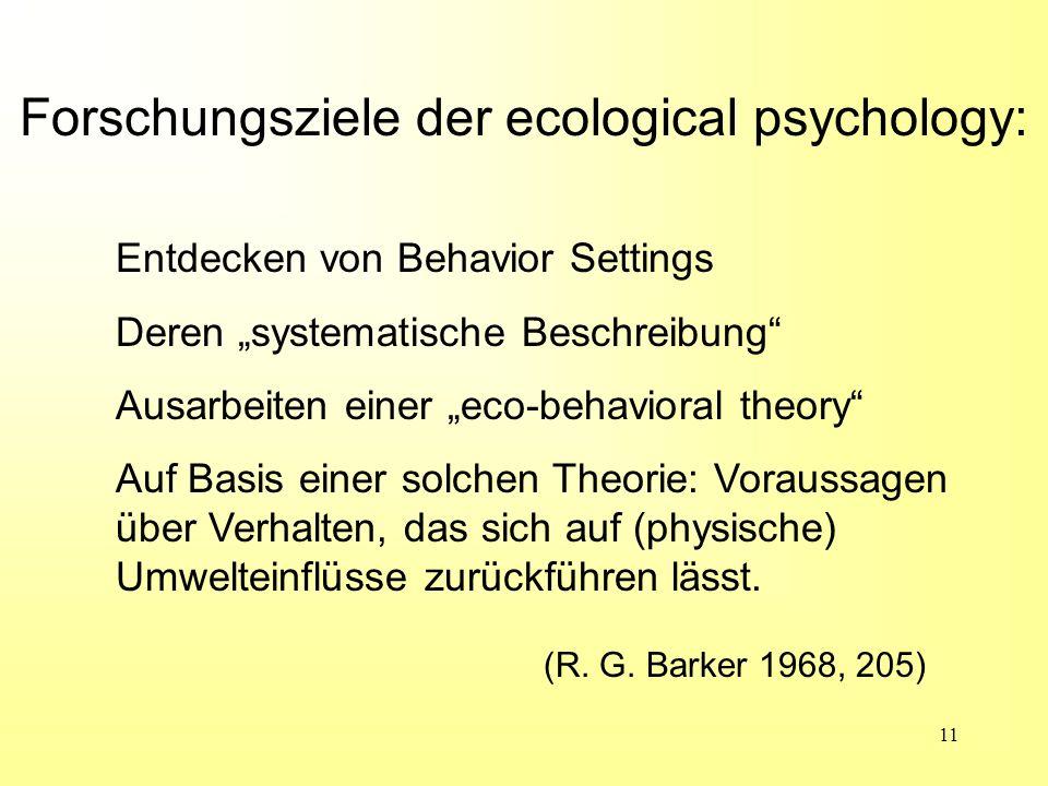 Forschungsziele der ecological psychology: