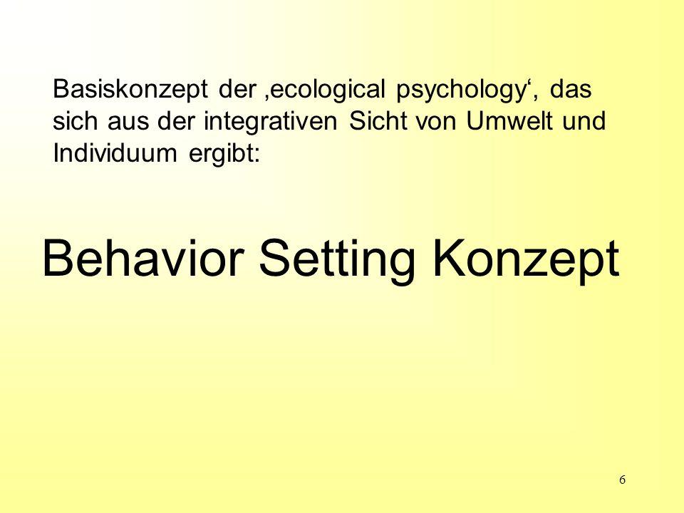 Behavior Setting Konzept