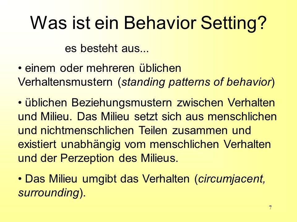 Was ist ein Behavior Setting