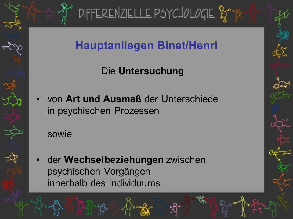 Hauptanliegen Binet/Henri