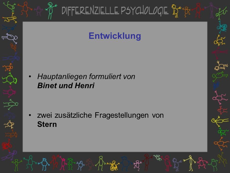 Entwicklung Hauptanliegen formuliert von Binet und Henri
