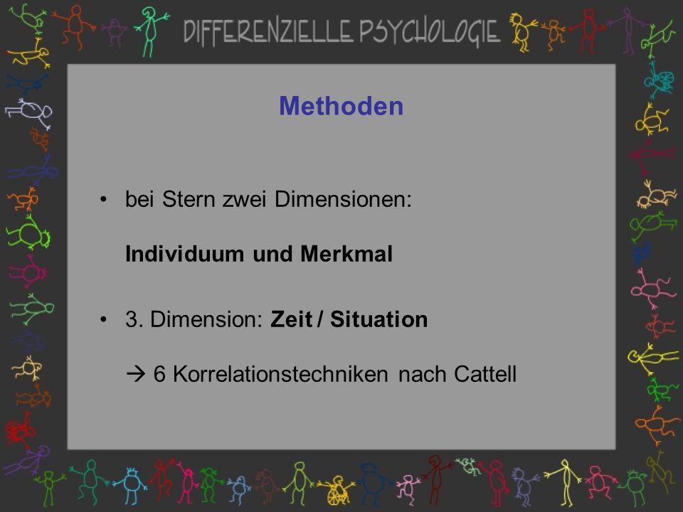 Methoden bei Stern zwei Dimensionen: Individuum und Merkmal