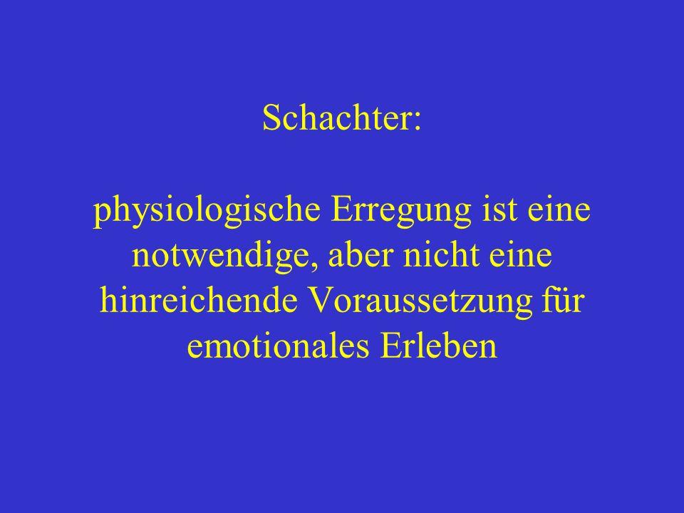 Schachter: physiologische Erregung ist eine notwendige, aber nicht eine hinreichende Voraussetzung für emotionales Erleben