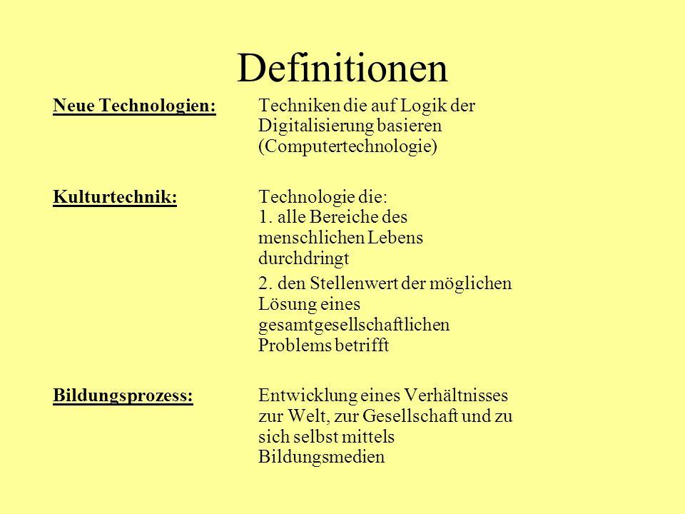 Definitionen Neue Technologien: Techniken die auf Logik der Digitalisierung basieren (Computertechnologie)
