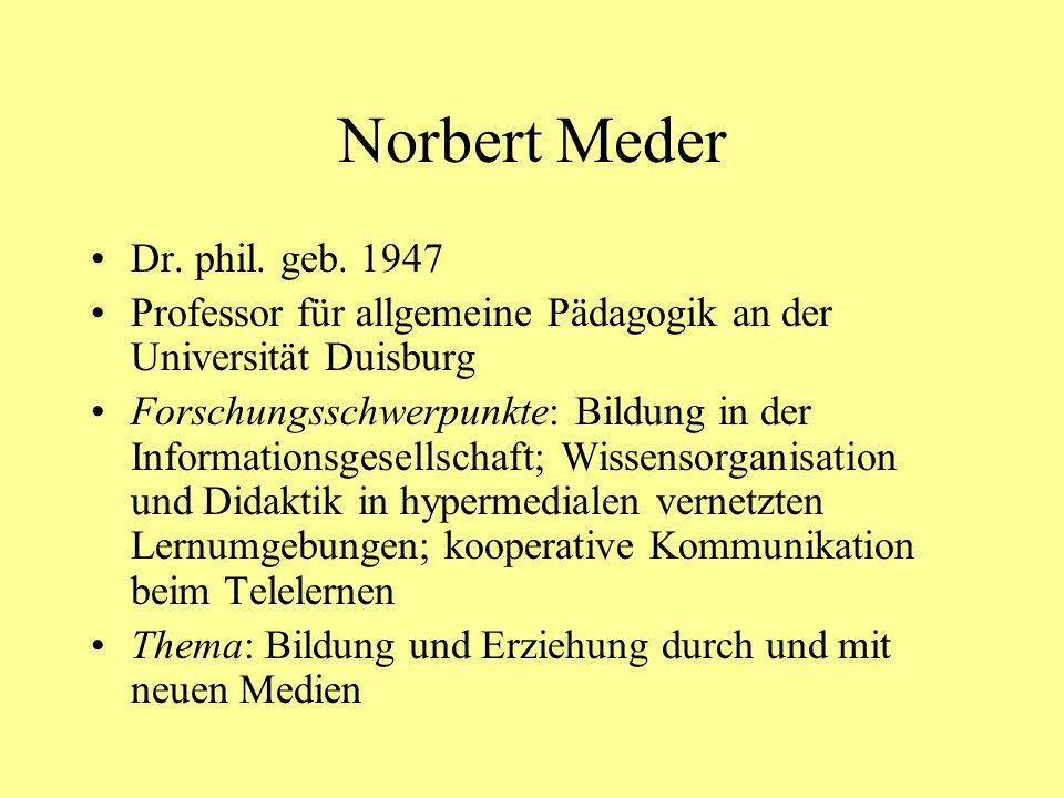 Norbert Meder Dr. phil. geb. 1947