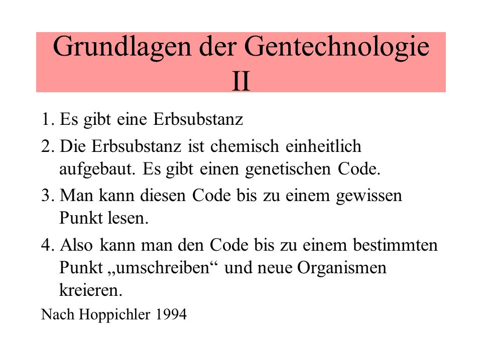 Grundlagen der Gentechnologie II