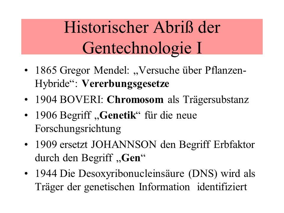 Historischer Abriß der Gentechnologie I