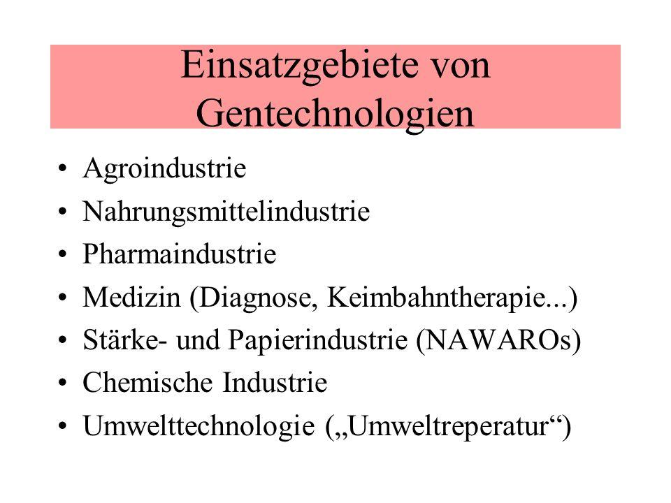 Einsatzgebiete von Gentechnologien