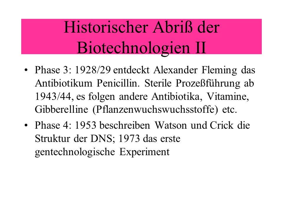 Historischer Abriß der Biotechnologien II