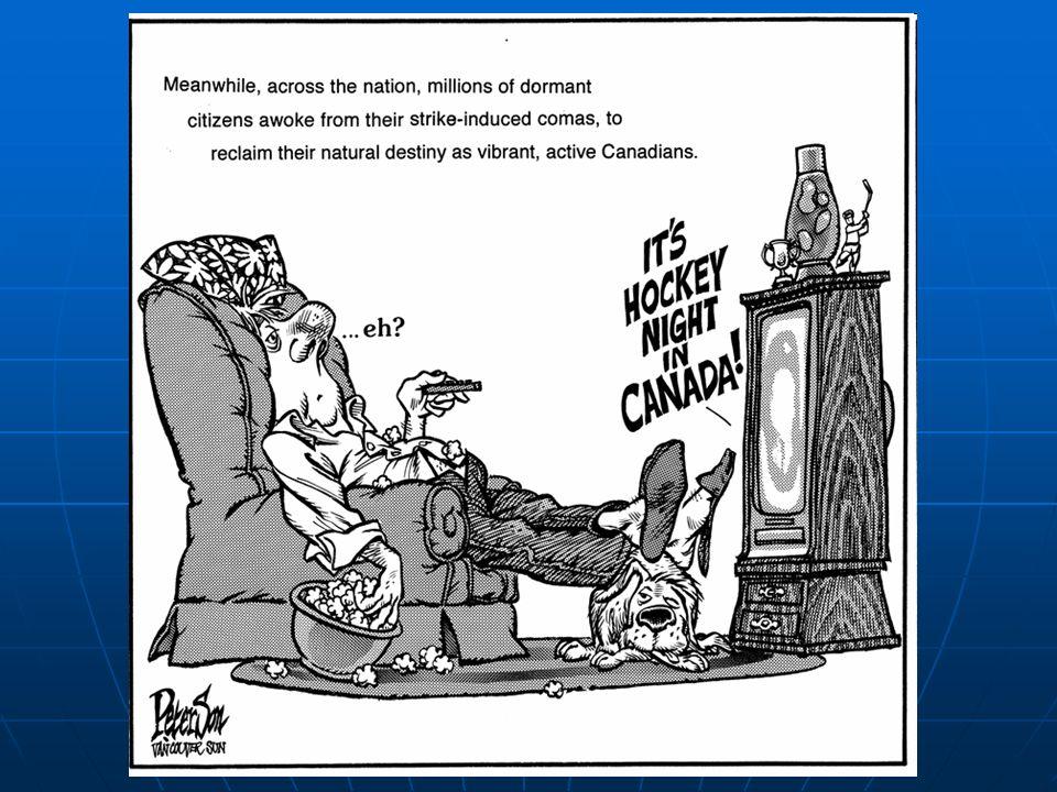 """Karikaturisten scheinen hierauf eine Antwort gefunden zu haben: Nur wenn im Fernsehen Hockey gezeigt wird, wachen über all in Kanada Millionen aus ihrem Koma auf, und ihre """"natural destiny as vibrant, avtive Canadians zu beanspruchen."""