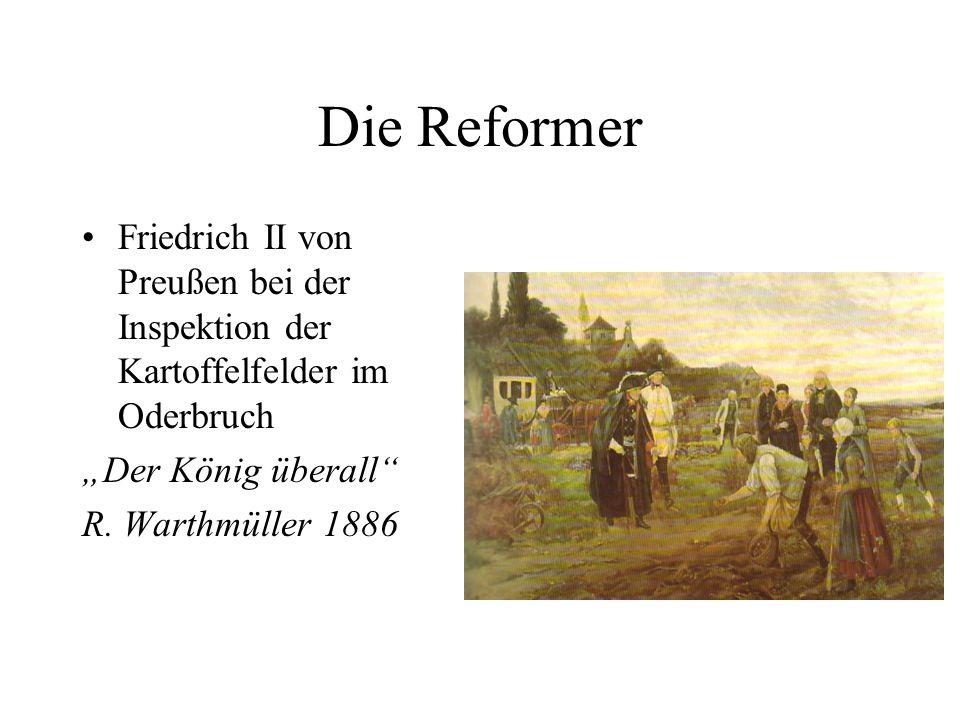 """Die Reformer Friedrich II von Preußen bei der Inspektion der Kartoffelfelder im Oderbruch. """"Der König überall"""