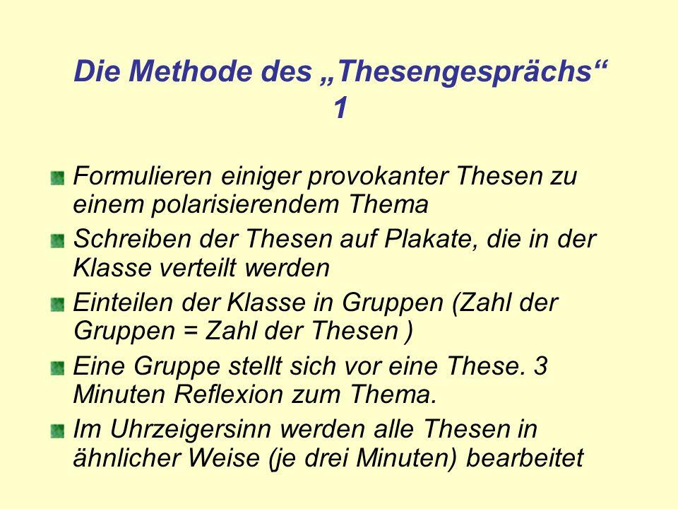 """Die Methode des """"Thesengesprächs 1"""