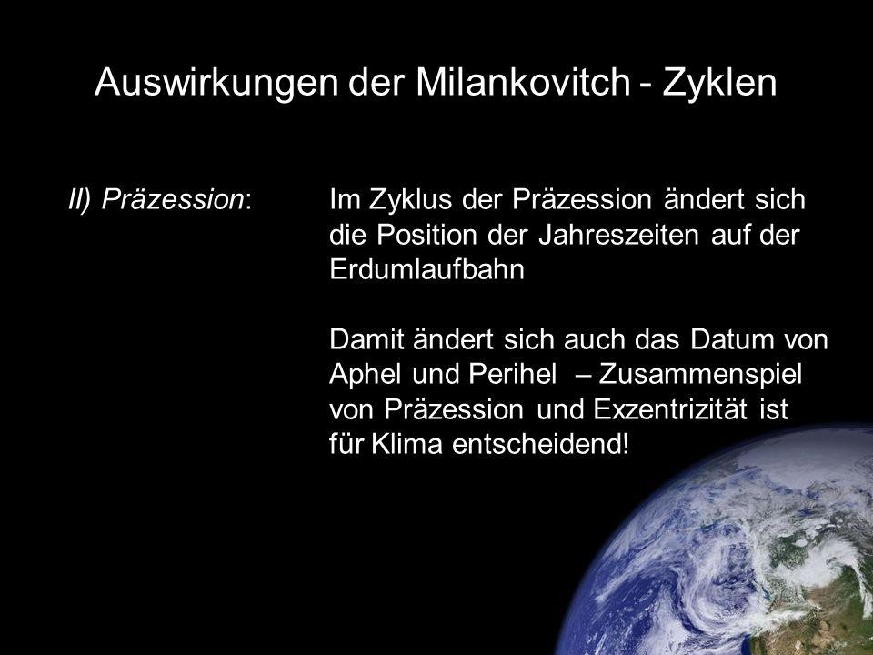 Auswirkungen der Milankovitch - Zyklen