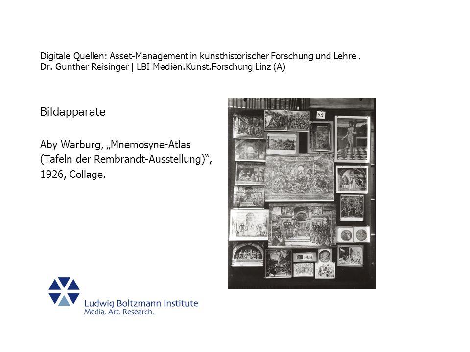 "Bildapparate Aby Warburg, ""Mnemosyne-Atlas"