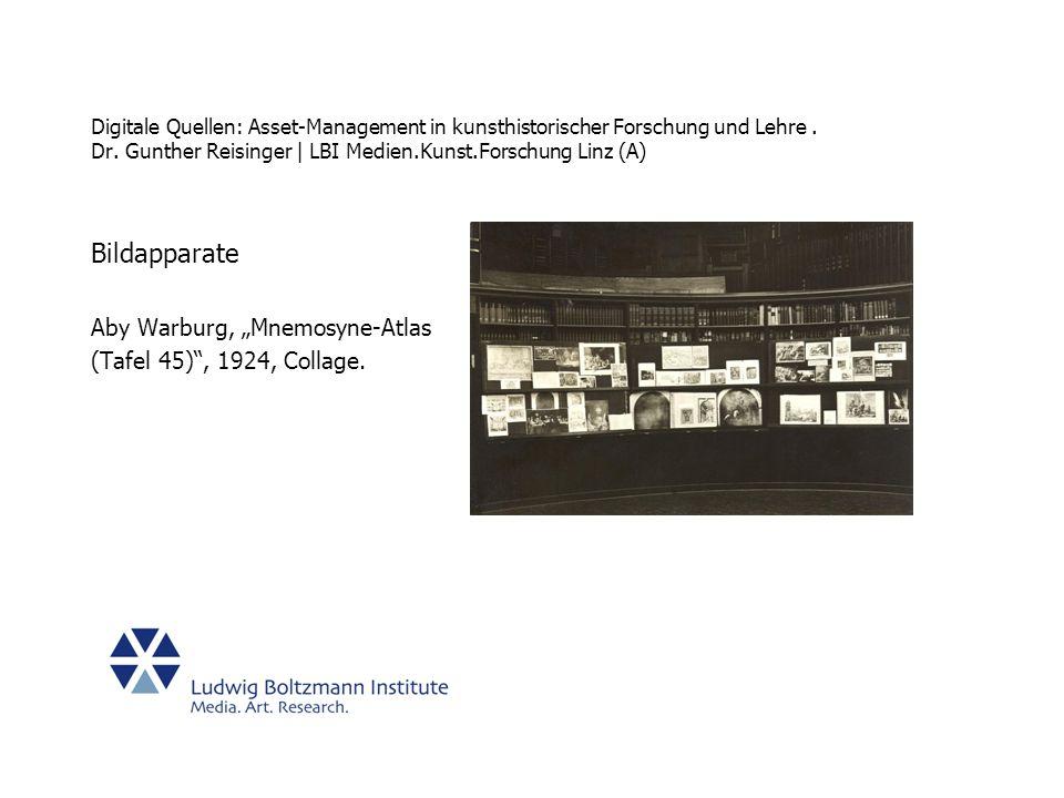 "Bildapparate Aby Warburg, ""Mnemosyne-Atlas (Tafel 45) , 1924, Collage."