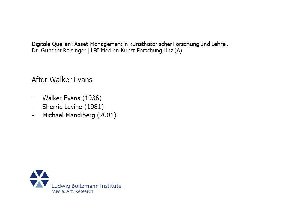 After Walker Evans Walker Evans (1936) Sherrie Levine (1981)