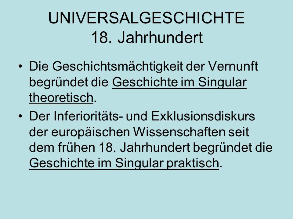 UNIVERSALGESCHICHTE 18. Jahrhundert