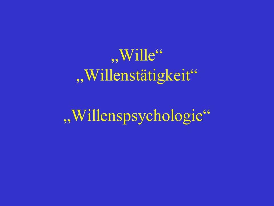 """""""Wille """"Willenstätigkeit """"Willenspsychologie"""