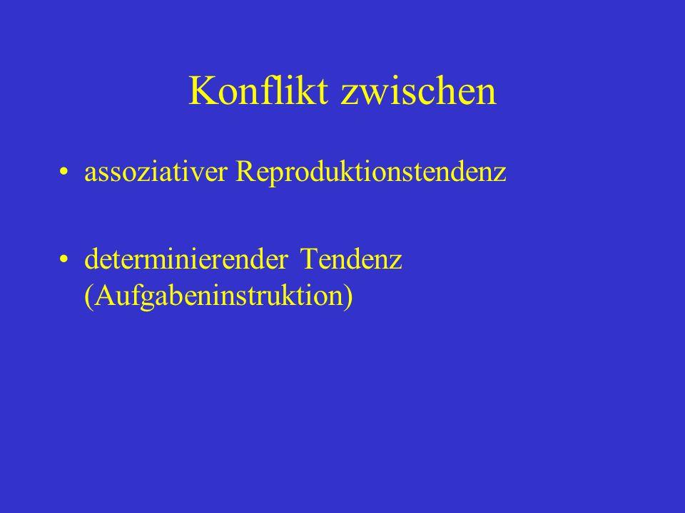 Konflikt zwischen assoziativer Reproduktionstendenz