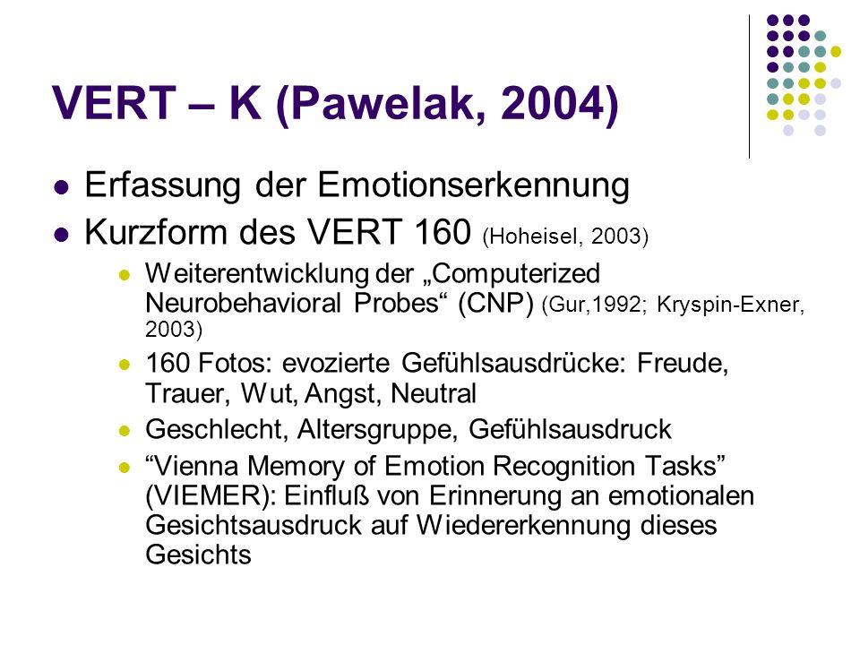 VERT – K (Pawelak, 2004) Erfassung der Emotionserkennung