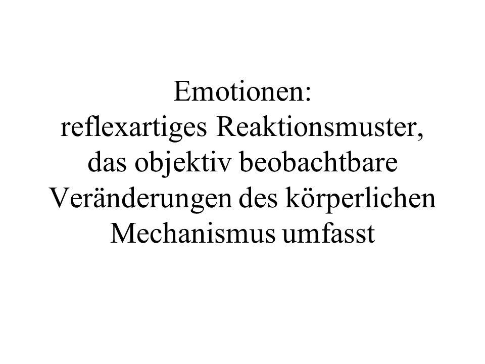 Emotionen: reflexartiges Reaktionsmuster, das objektiv beobachtbare Veränderungen des körperlichen Mechanismus umfasst