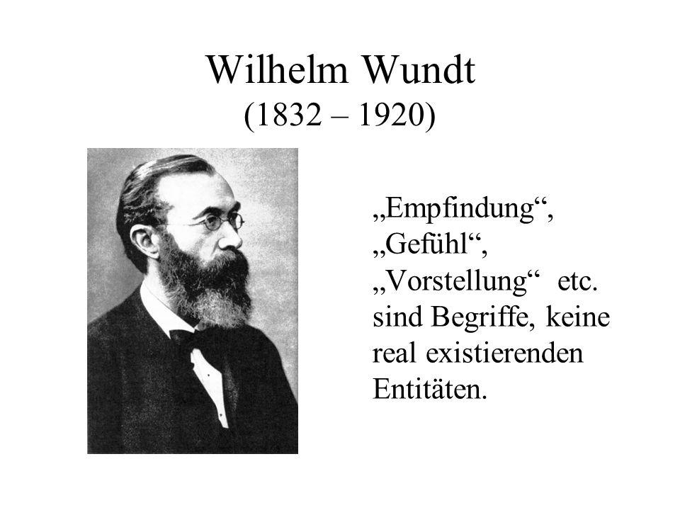 """Wilhelm Wundt (1832 – 1920) """"Empfindung , """"Gefühl , """"Vorstellung etc."""
