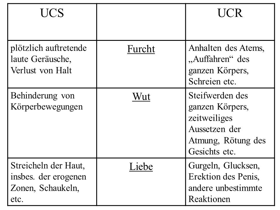 UCS UCR Furcht Wut Liebe