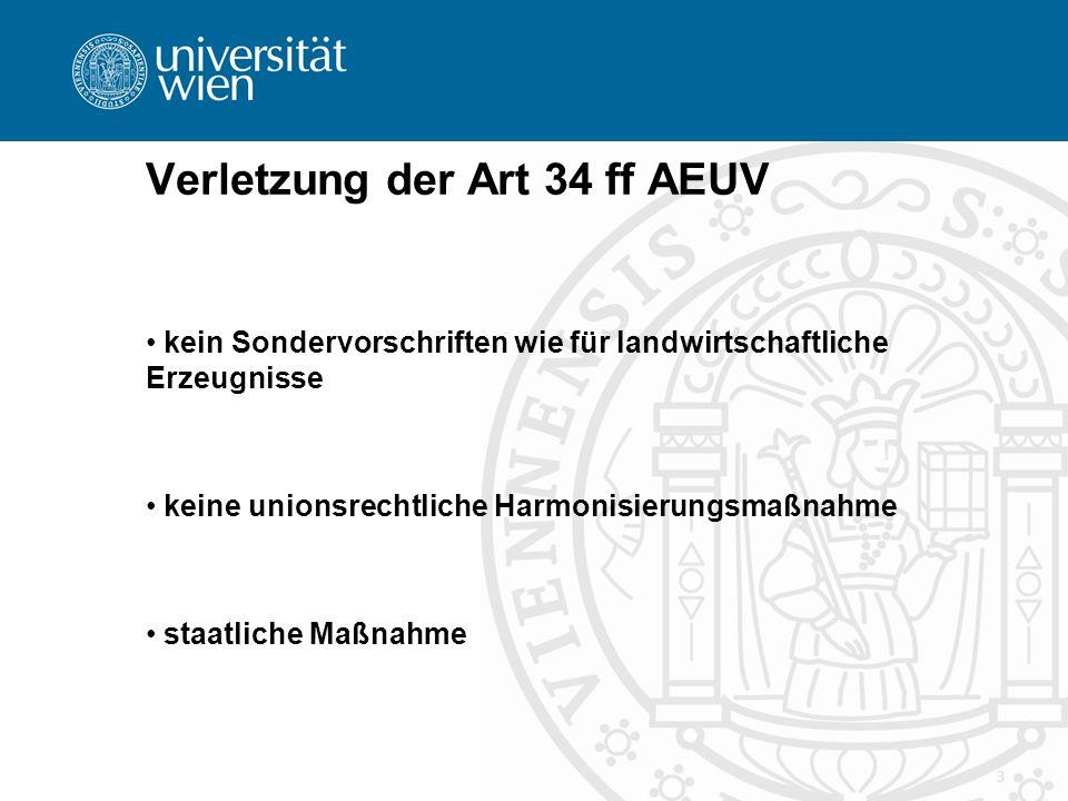 Verletzung der Art 34 ff AEUV