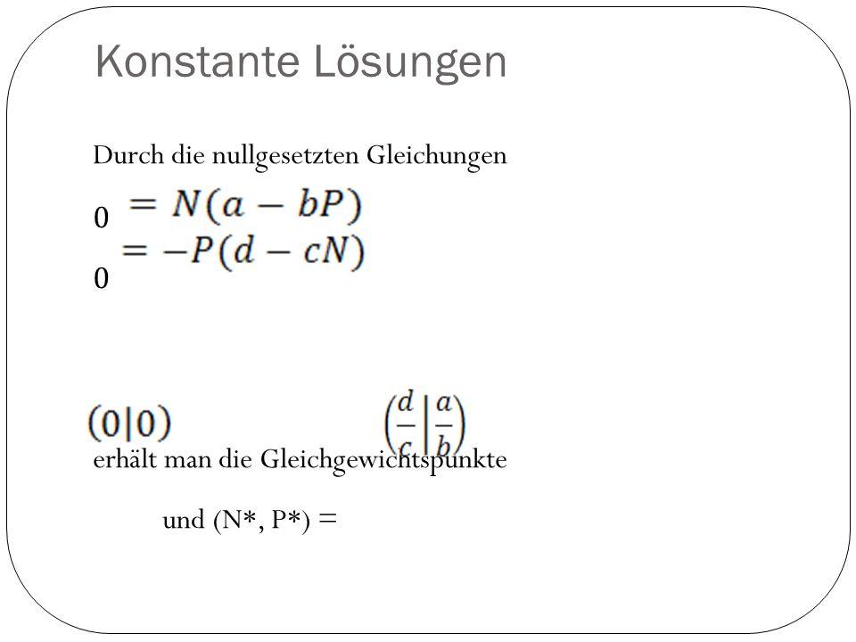 Konstante Lösungen Durch die nullgesetzten Gleichungen