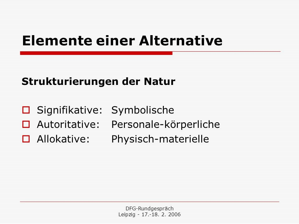Elemente einer Alternative