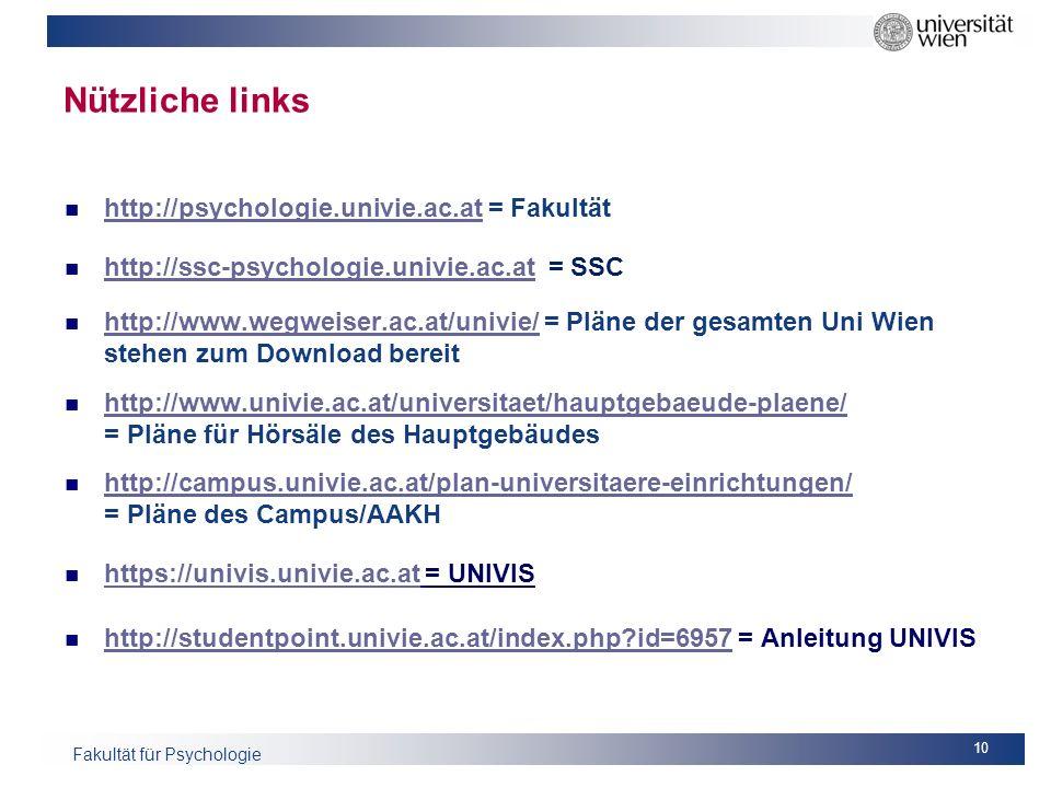 Nützliche links http://psychologie.univie.ac.at = Fakultät