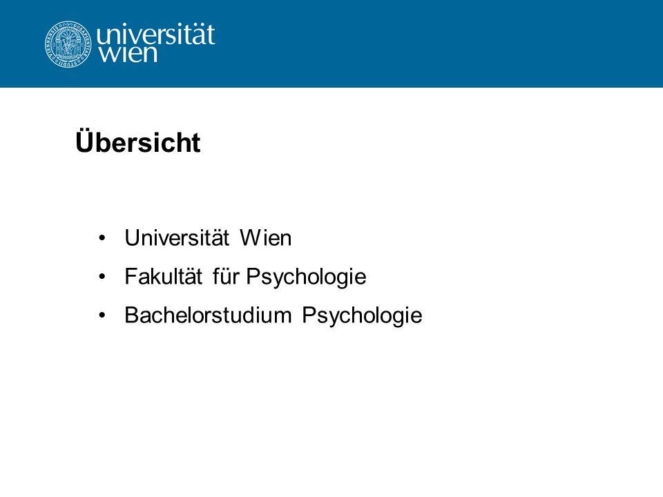 Übersicht Universität Wien Fakultät für Psychologie