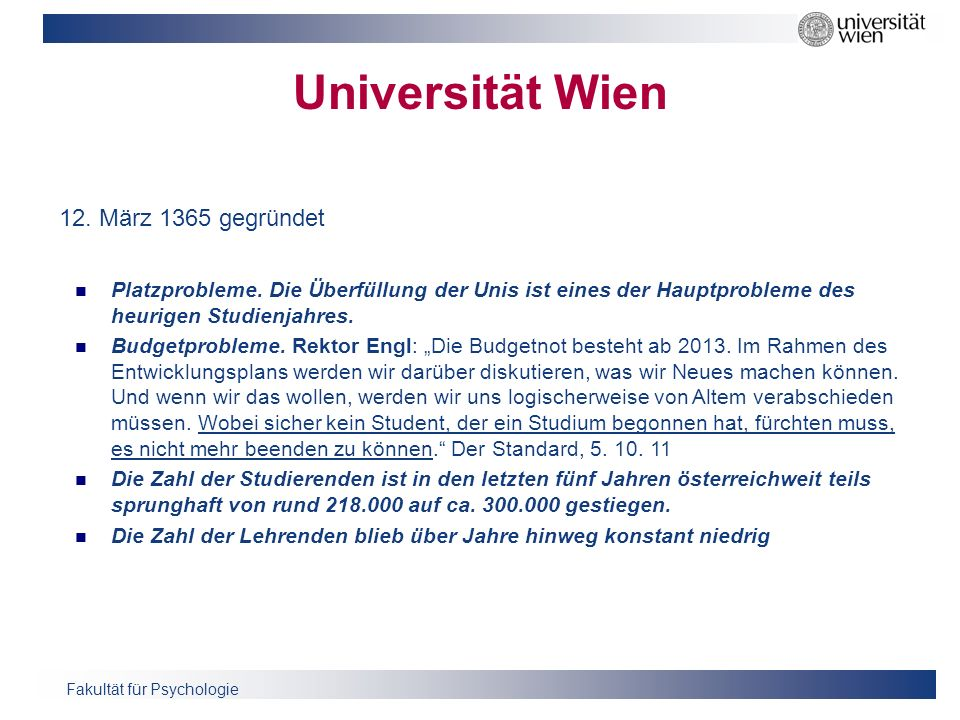 Universität Wien 12. März 1365 gegründet