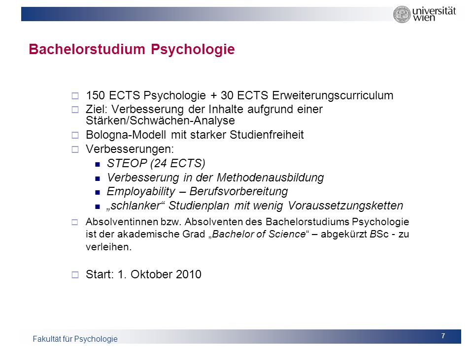 Bachelorstudium Psychologie