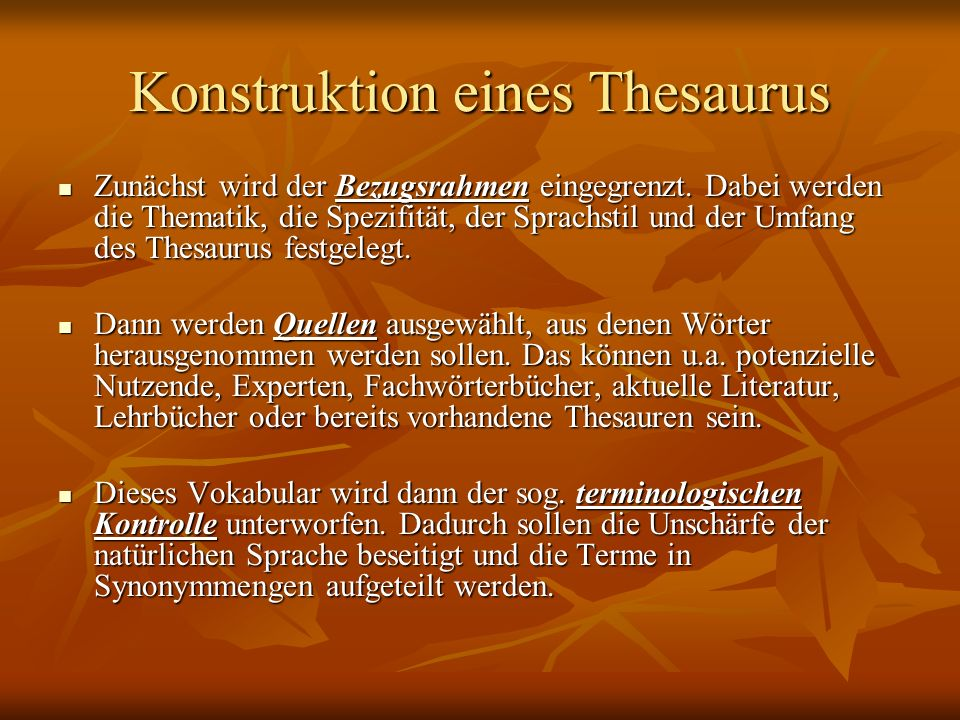 Konstruktion eines Thesaurus