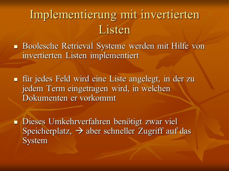 Implementierung mit invertierten Listen